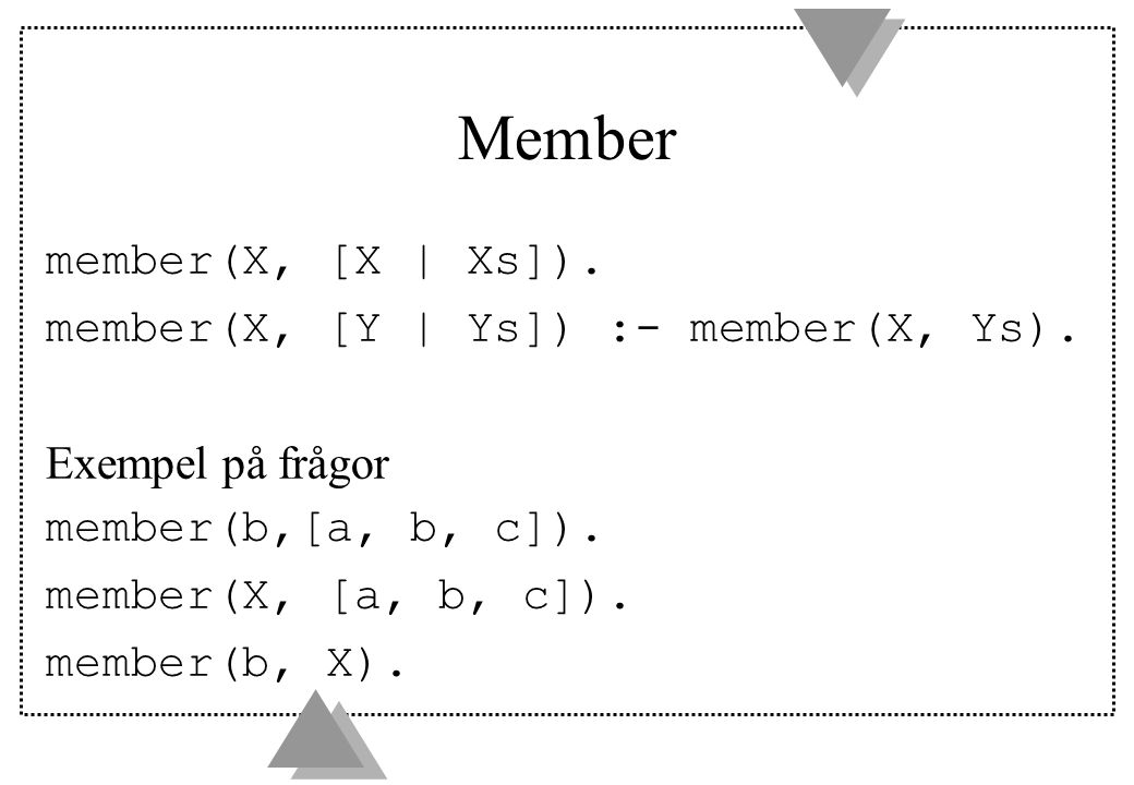Member member(X, [X | Xs]). member(X, [Y | Ys]) :- member(X, Ys).